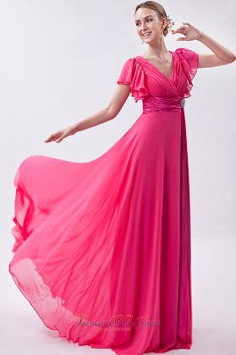 Pink Empire V-neck Prom Dress Chiffon Ruch