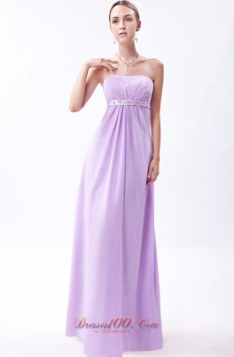 Lavender Strapless Chiffon Embroidery Bridesmaid Dress