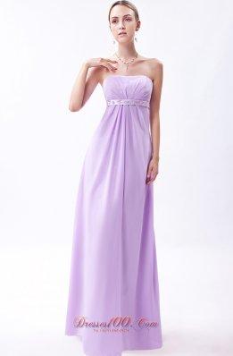 Lavender Strapless Chiffon Embroidery Bridesmaid Dress