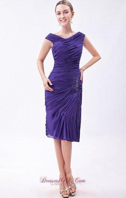 Purple Column V-neck Prom Dress Chiffon Beading