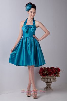 Teal Halter Prom Homecoming Dress Taffeta Bowknot