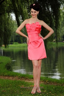 Watermelon Red Column Strapless Prom Homecoming Dress