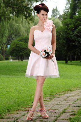 Pink One Shoulder Mini-length Tulle Floral Prom Dress