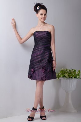 Purple Strapless Taffeta Floral Prom Homecoming Dress