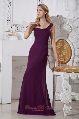 Purple Column Brush Train Chiffon Prom Evening Dress