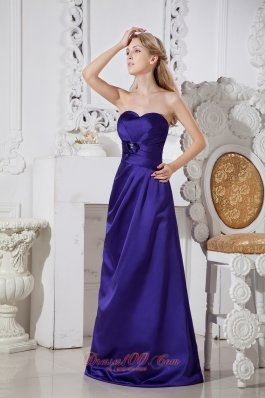 Purple A-line Sweetheart Satin Floral Prom Dress