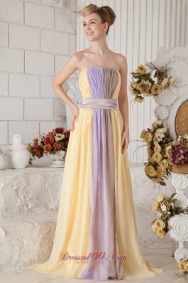 Multi-color Empire Chiffon Strapless Prom Dress