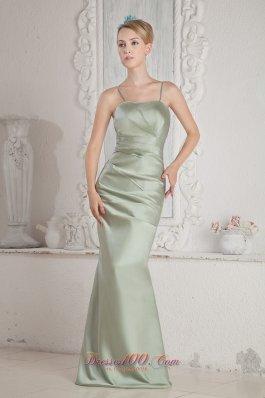 Apple Green Spaghetti Straps Brush Prom Dress Beaded