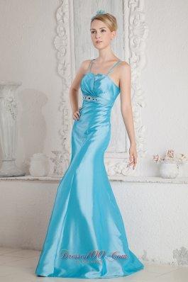 Brush Satin Mermaid Aqua Prom Gown with Straps