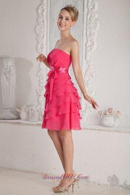 Layered Sash Hot Pink Chiffon Mini-length Prom Dress