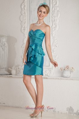 Mini-length Taffeta Sweetheart Teal Prom Dress Sashed