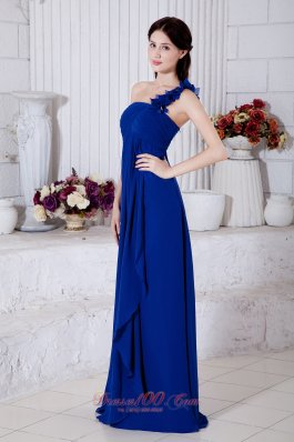 Brush Hand Made One Shoulder Royal Chiffon Evening Dress