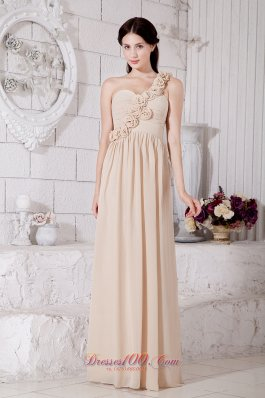 Handmade Flower Champagne Bridesmaid Dress One Shoulder