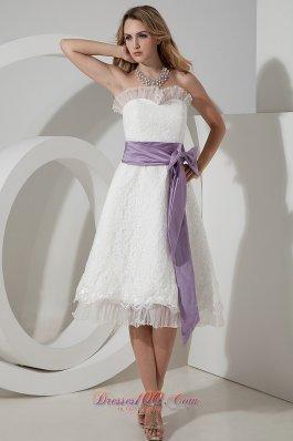 Tea-length Lace Bow Wedding Dress with Waistband