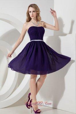 Strapless Ruch Knee-length Chiffon Purple Bridesmaid Dress