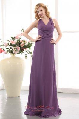 Ruched V-neck Elegant Purple Empire Bridesmaid Dress