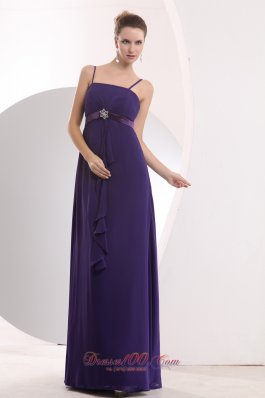 Straps Empire Chiffon Purple Bridesmaid Dress Sashed