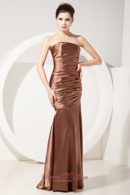 Mermaid Ruched Taffeta Chocolate Strapless Bridesmaid Dress