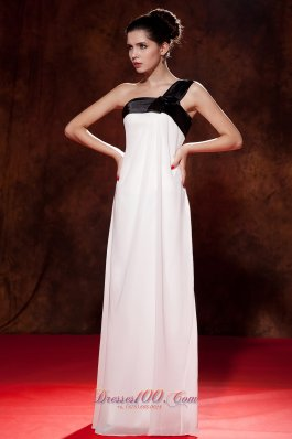 One Shoulder Black and White Chiffon Bow Cocktail Dress