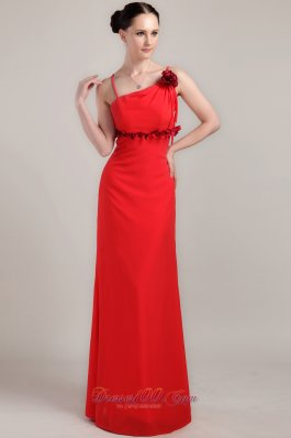 Hand Flower Column Spaghetti Straps Red Prom Dress