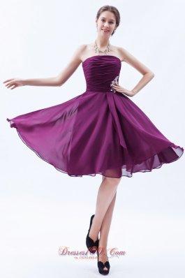 Dark Grape Purple Prom Dress Ruch Appliques Knee-length