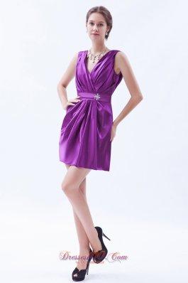 Eggplant Purple V-neck Prom / Cocktail Dress Mini-length