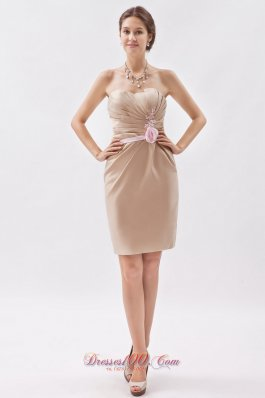 Champagne Empire Prom Minidress Sweetheart Appliques