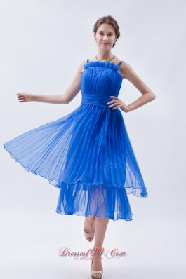 Sky Blue Empire Straps Prom Dress Ruch Tea-length