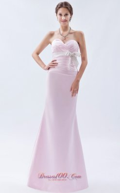 Light Pink Mermaid Bow Bridesmaid Dress Sweetheart Ruch