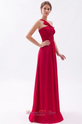 Wine Red Empire One Shoulder Bridesmaid Gowns Empire