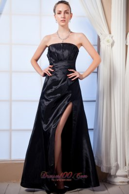 Black Empire Slit Mother Of The Bride Dress Strapless Ruch