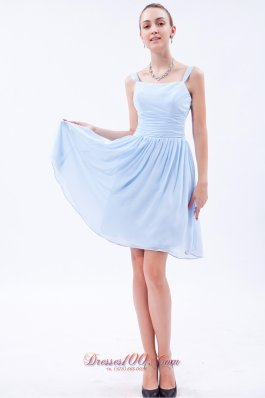 Light Sky Blue Empire Bridesmaid Dress Straps Knee-length
