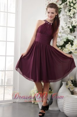 Maroon Empire High-neck Bridesmaid Dress Knee-length