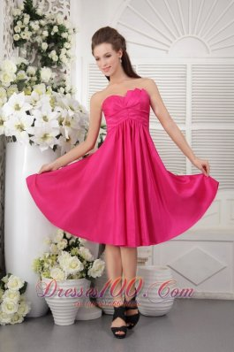 Rose Pink Empire Hot Pink Bridesmaid Maxi Dress Strapless