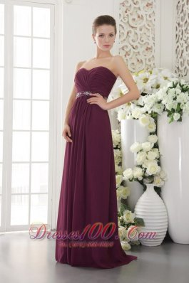 Grape Purple Empire Bridesmaid Dress Sweetheart Belt Ruch