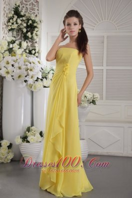 Yellow Empire Ruffles Prom / Graduation Dress Flowers