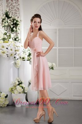 Baby Pink Princess Bridesmaid Dress Straps Tea-length