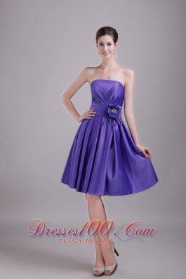Slate Blue Strapless Bridesmaid Dress Knee-length Flower