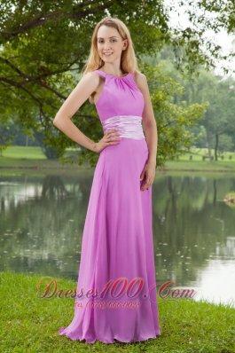 Lavender Empire Bateau Brush Ruch Bridesmaid Dress