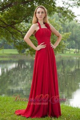 Crismon Red Empire Halter Ruch Prom Dress Brush Train