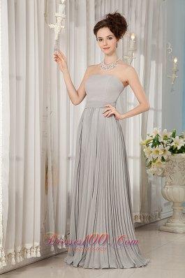 Grey Bridesmaid Dress Empire Strapless Chiffon Ruch