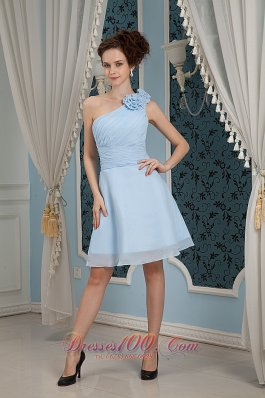 One Shoulder Baby Blue Flowers Bridesmaid Dress