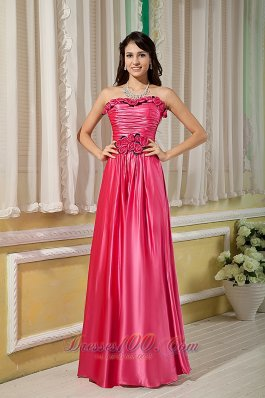 Hand Made Flowers Hot Pink Bridesmaid Gowns