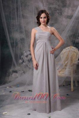 Grey One Shoulder Chiffon Bridesmaid Dress Ruched