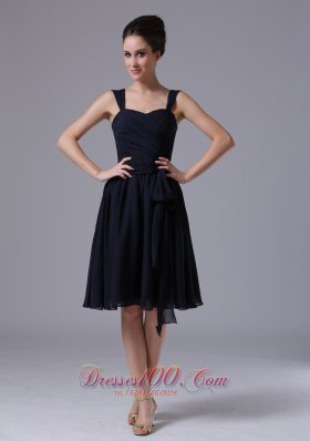 Chiffon Navy Blue Straps Bridesmaid Dresses Ruched