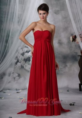 Watteau Ruched Red Bridesmaid Dress Strapless Chiffon