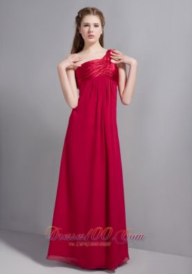 One Shoulder Ruched Wine Red Bridesmaid Dresses