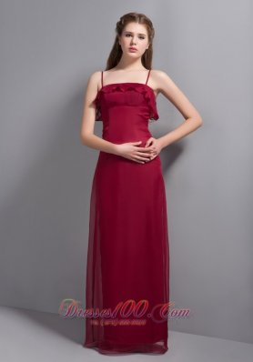 Spaghetti Straps Wine Red Bridesmaid Dresses Chiffon