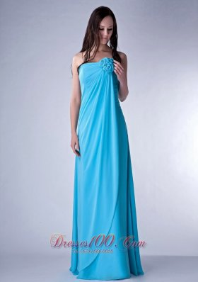Hand Made Fowers Teal Bridesmaid Dress For Parties