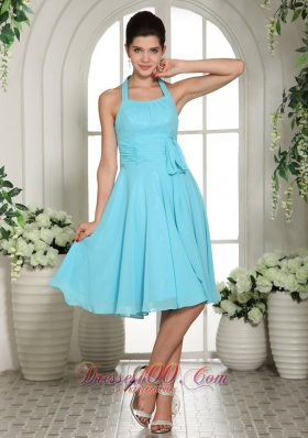 Halter Sash Aqua Blue Dama Dresses For Quinceanera